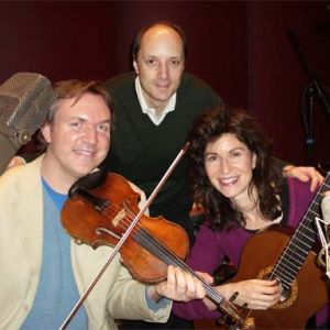 "With Mark O'Connor and Sharon Isbin at the recording sessions for ""Journey to the New World"" (Sony Classical) Tags: Journey to the New World, Mark O'Connor, Sharon Isbin, David Frost"