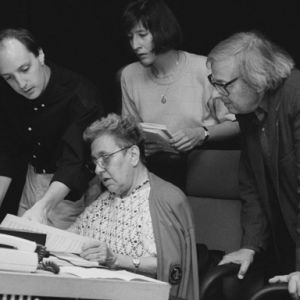 With pianist Alicia de Larrocha, Andre Previn, and Christianne Orto at the RCA Red Seal recording session of the Mozart Concerto for Two Pianos Tags: Alicia de Larrocha, Andre Previn, Christianne Orto, David Frost