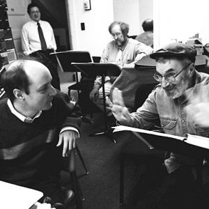 "With composer Paul Schoenfield at the recording session of his opera ""The Merchant and the Pauper"", for the Milken Archive Photo courtesy of the Milken Family Foundation Tags: David Frost, Paul Schoenfield"